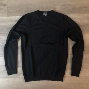 H&M Black 100% Merino Wool V-Neck Sweater